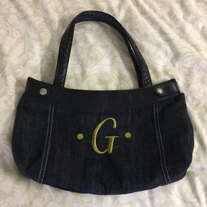 Jean Purse with Letter G embroidered on the front
